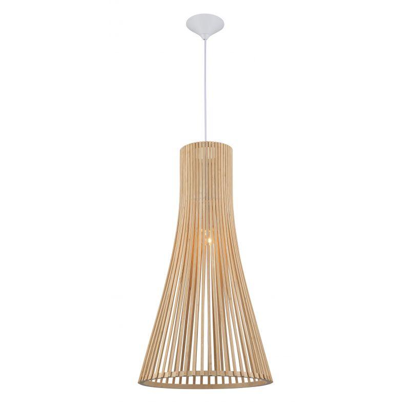 Lámpara colgante cono madera y metal