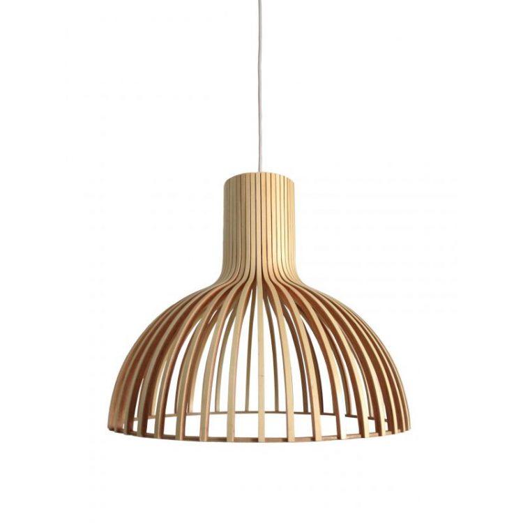 Lámpara colgante madera y metal