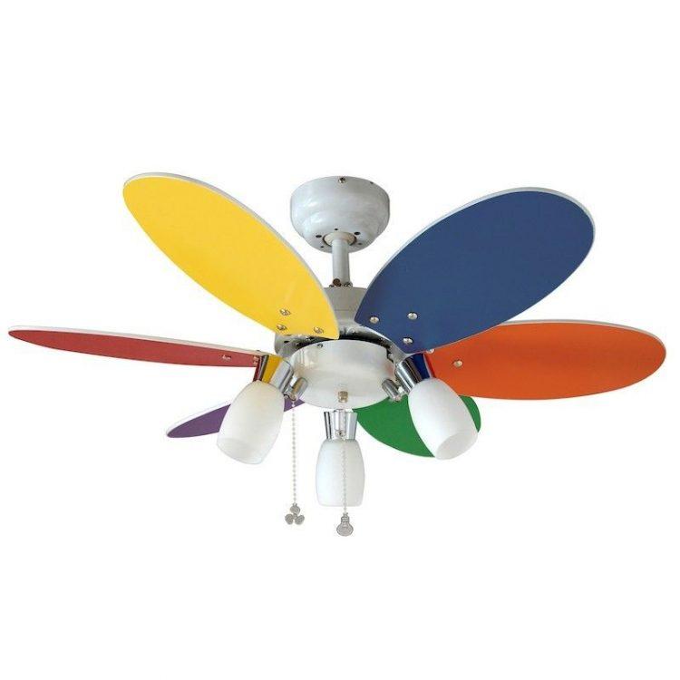 Ventilador 6 aspas multicolor