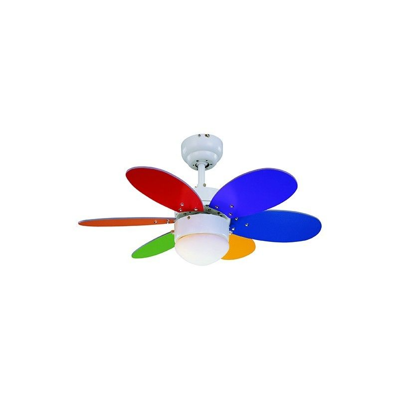 Ventilador led 6 aspas multicolor