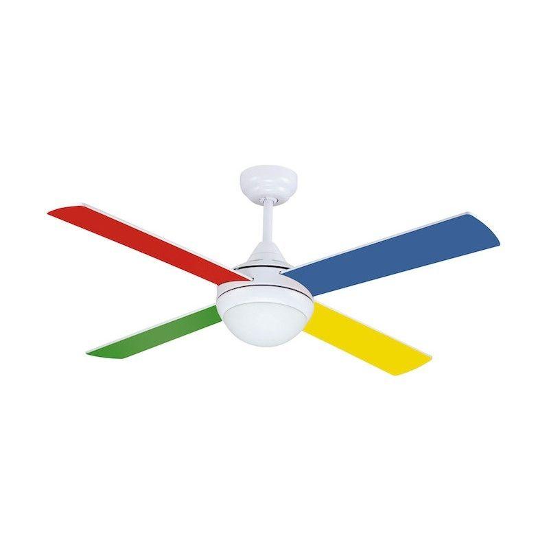 Ventilador 4 aspas multicolor/blanco