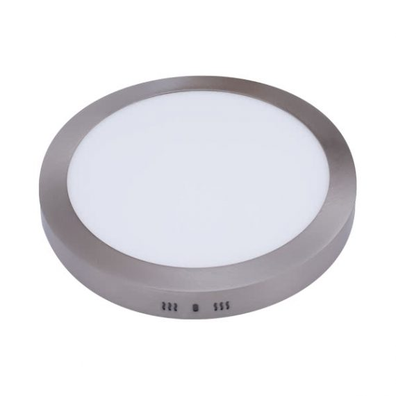 downlight sup red 18w 6500k aquiles led niquel 1425 lm 22 5dx4h - Todolampara - Lámpara Plafón Superficie 25W Redondo Niquel Satinado 4500K