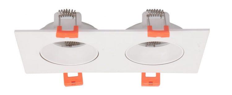 EMPOTRABLE PVC CUADRADO 2 LUCES BLANCO PARA GU10