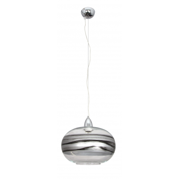 colgante bola chata ambarina 1xe27 plata negro - Todolampara - Lámpara Colgante Ambarina Plata Negro