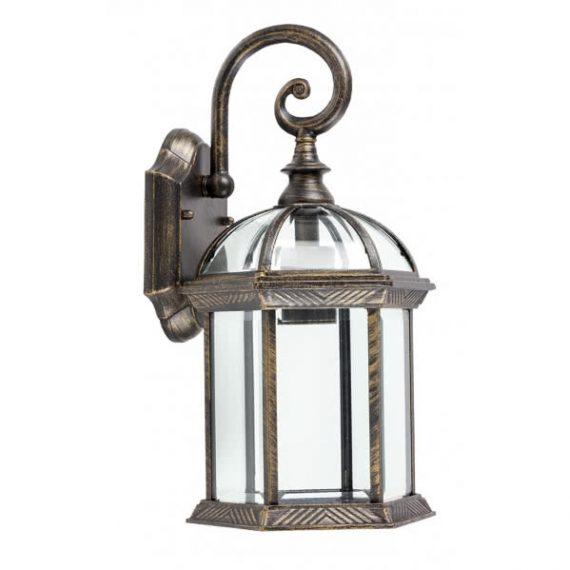 aplique exterior amapola 1xe27 negro oro 40x22 - Todolampara - Lámpara Aplique Exterior Amapola Plateado