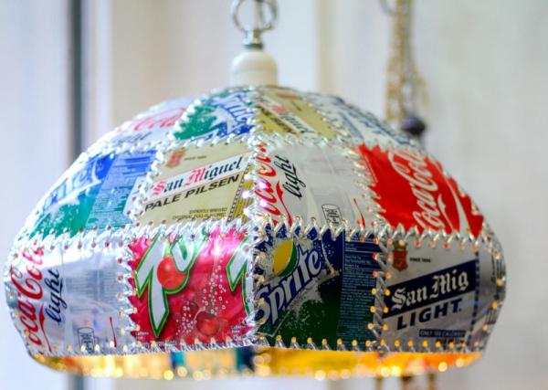 lamparas con materiales reciclables 3 - Todolampara - Lámparas con materiales reciclables