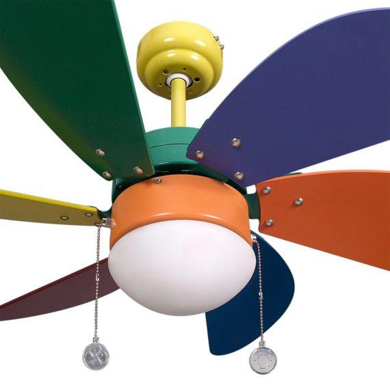 detalle ventilador con luz delfin color