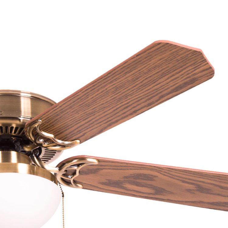 detalle de aspas en nogal del ventilador heracles en cuero