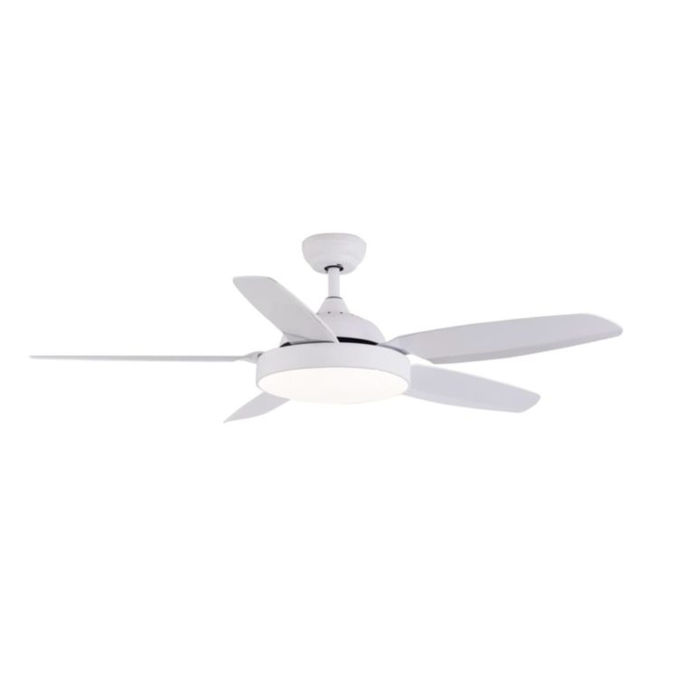 ventilador de techo con luz led modelo huracan con 5 aspas y color blanco