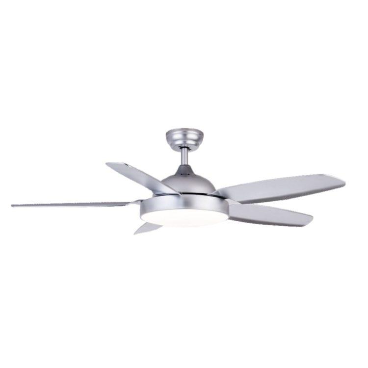 ventilador de techo con luz led modelo huracan con 5 aspas y color plata