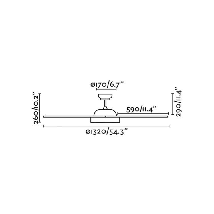 medidas de ventilador modelo huracan con luz led