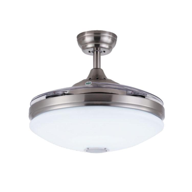 ventilador de techo con altavoz y luz led mallorca y aspas invisibles