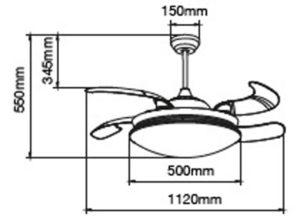 medida de ventilador de aspas retractiles transparentes plegables