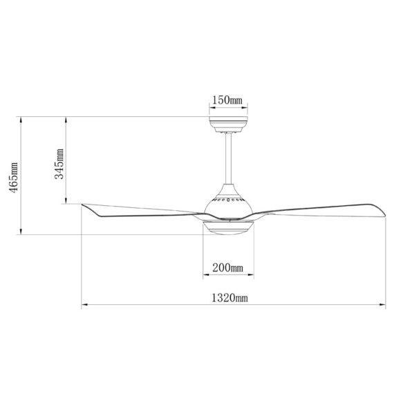 medidas de ventilador de techo bali con motor dc y luz led