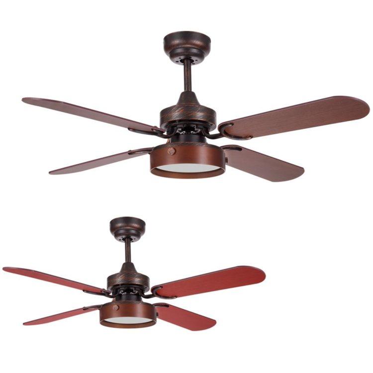 ventilador de techo modelo bornan con aspas reversibles color marron