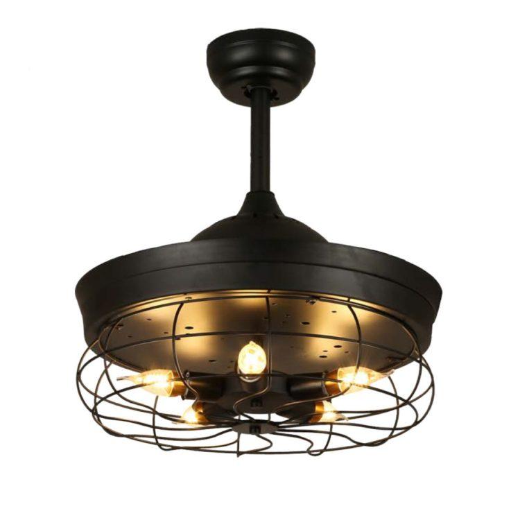 ventilador anticuario con aspas plegables y con bombillas estilo rustico