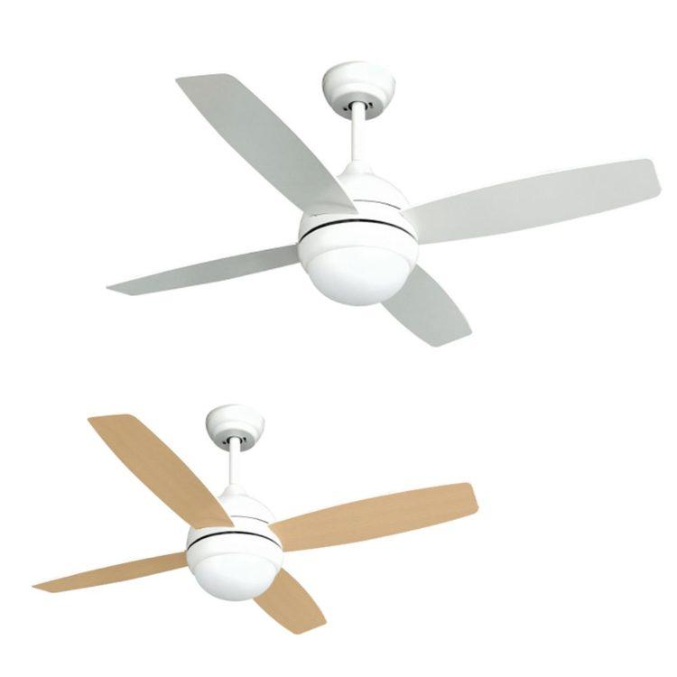 ventilador con aspas reversibles luz led de 4 aspas y dos colores blanco y madera