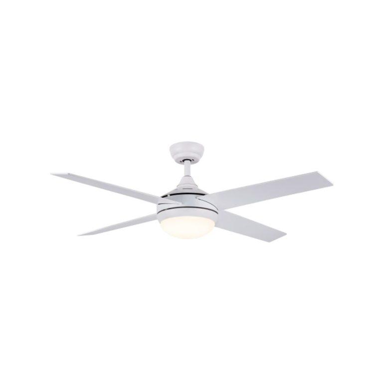 ventilador de techo color blanco con luz led y 4 aspas