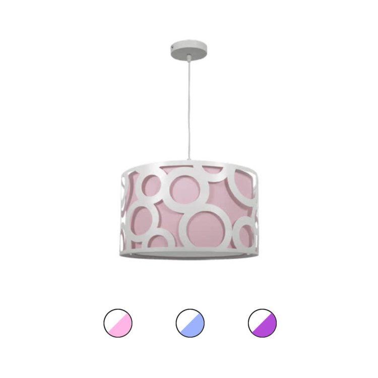 lampara colgante rosa con circulos