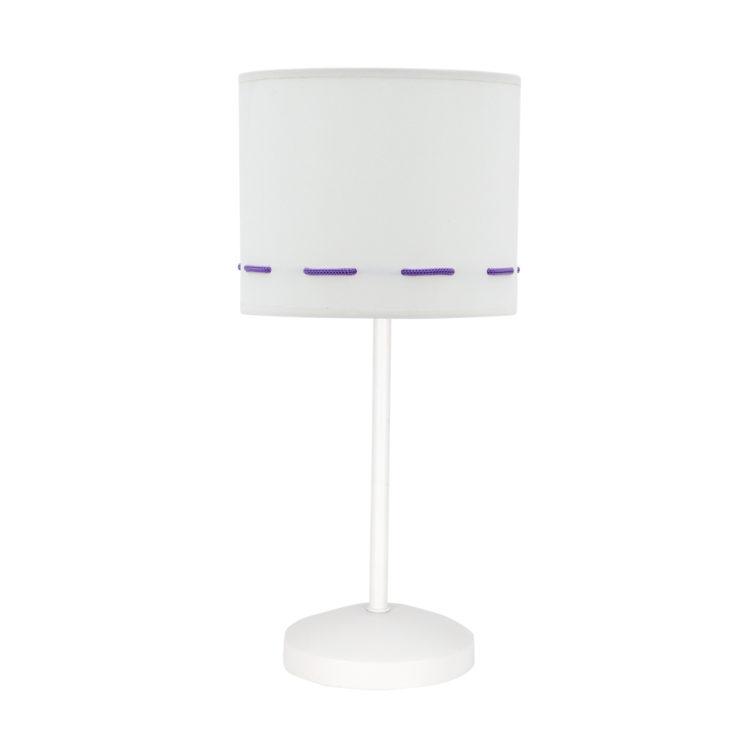 lampara de mesa blanco y lila infantil