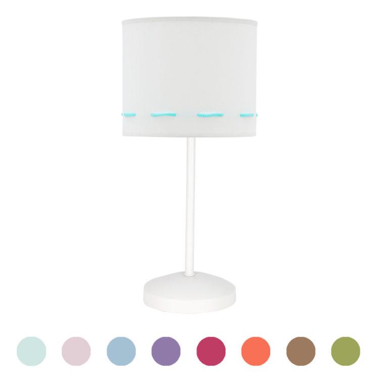 lampara de mesita infantil de tela colores trazos