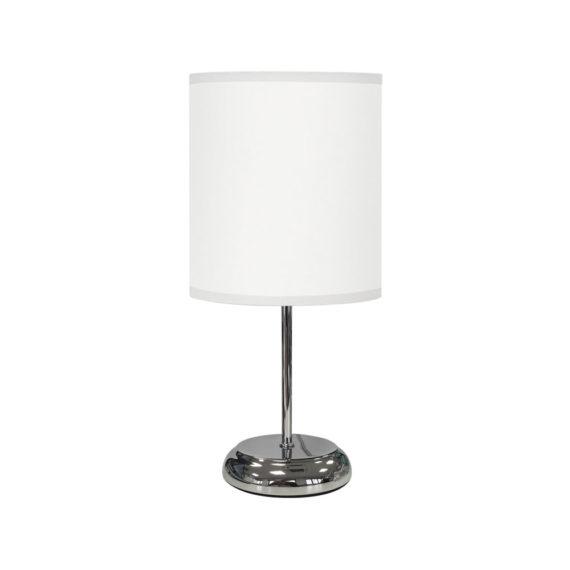 lampara de mesa blanca en tela
