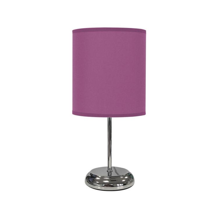 lampara basica de tela de mesa color violeta o lila