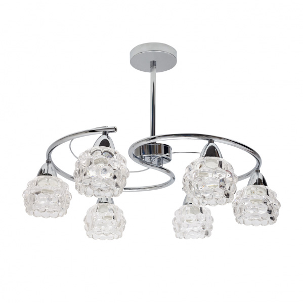 GLASS 6L CROMO - Todolampara - Lámpara 6xE14 Glass Cromo Tulipa Cristal