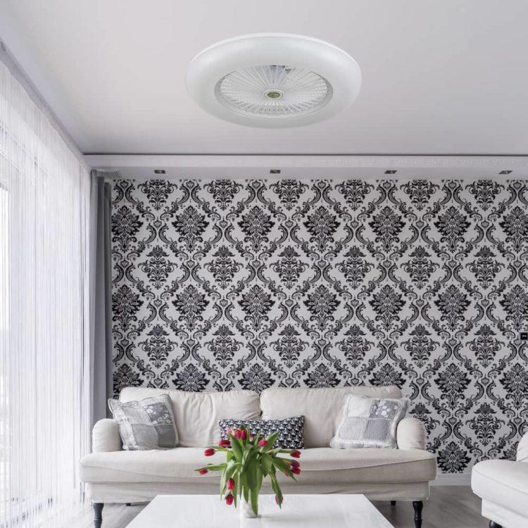 ventilador blanco estilo plafon de aspas protegidas