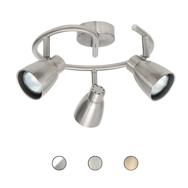 plafon de 3 luces orientables en redondo