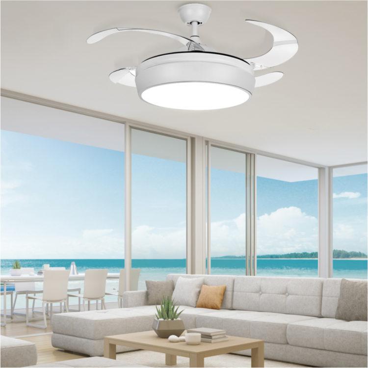ventilador moderno de techo sin aspas y luz led con mando
