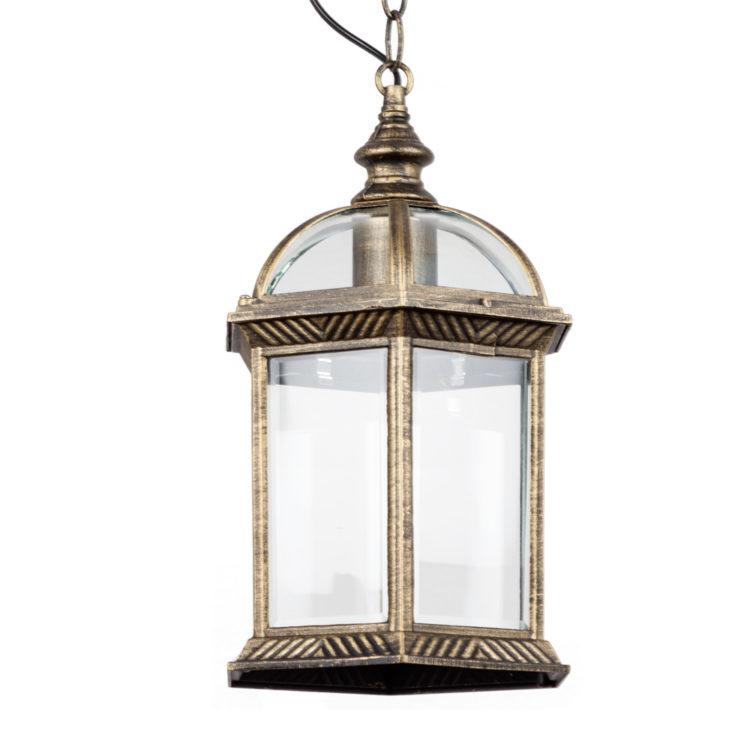 lampara exterior aluminio oro envejecido