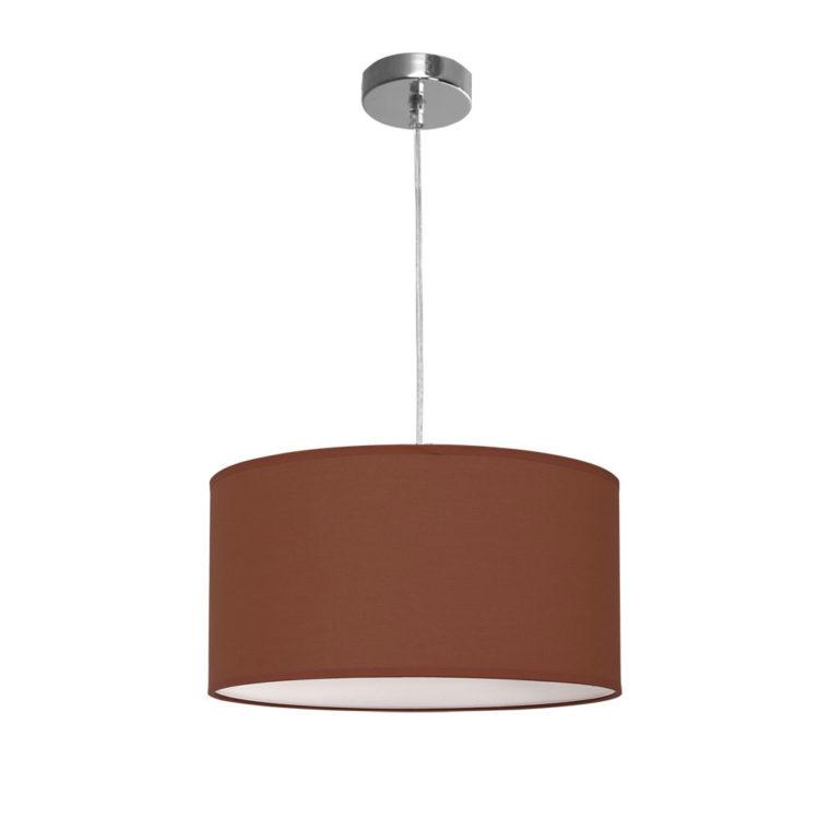 lampara colgante de tela marron chocolate