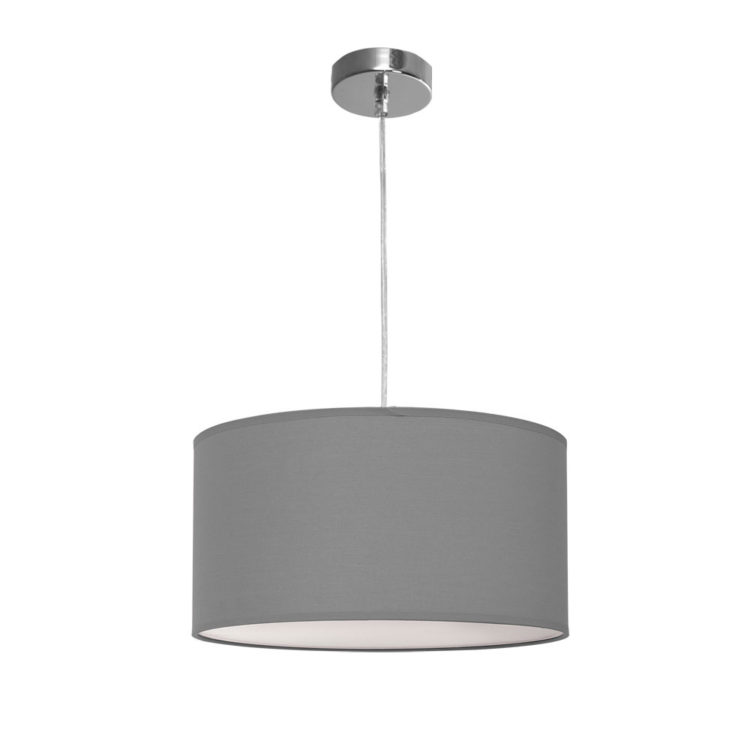 lampara de tela colgante gris