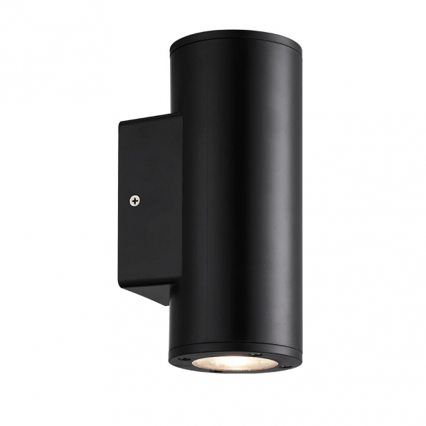aplique exterior yopol 2xgu10 negro cilindro policarbonato 18 6x7 6x9 9 ip54 - Todolampara - Aplique Exterior Yopol 2xgu10 Negro Cilindro Policarbonato 18,6x7,6x9,9 Ip54