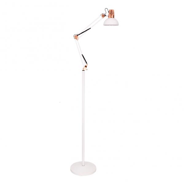 flexo de pie 185cm antigona articulable 1xe27 blanco cobre 142 - Todolampara - Flexo De Pie 185cm Antigona Articulable 1xe27 Blanco/cobre 142-192x28d