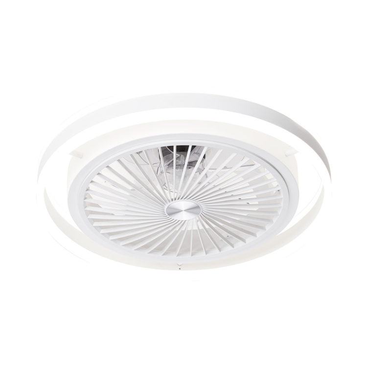 lampara compacta con ventilador de aspas invisibles y luz led regulable