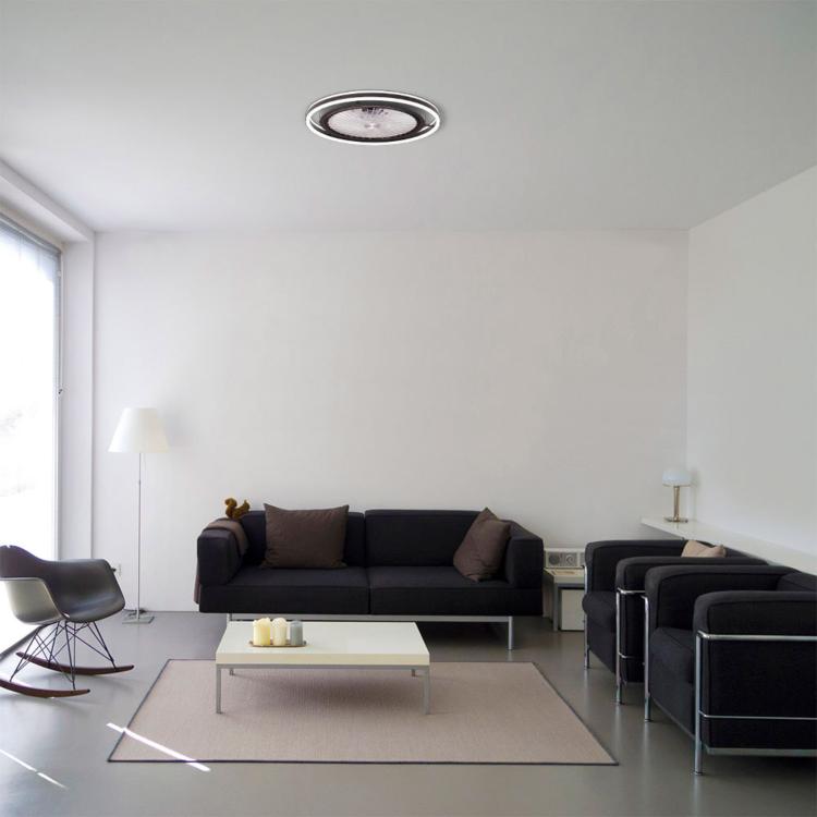 lampara de moderno diseño con ventilador y luz led regulable