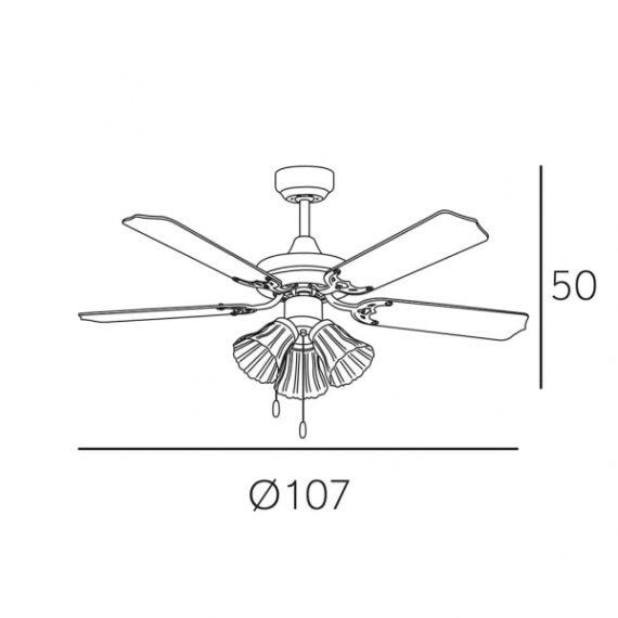 ventilador garbin niquel tulipas 3xe27 5 aspas plata haya 50x107d 1 - Todolampara - Ventilador Garbin Niquel Tulipas 3xe27 5 Aspas Plata/haya 50x107d