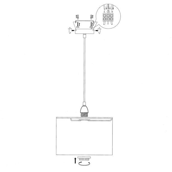 Montaje lampara colgante - Todolampara - ENFILAJE LÁMPARA CROMADO 1 LUZ