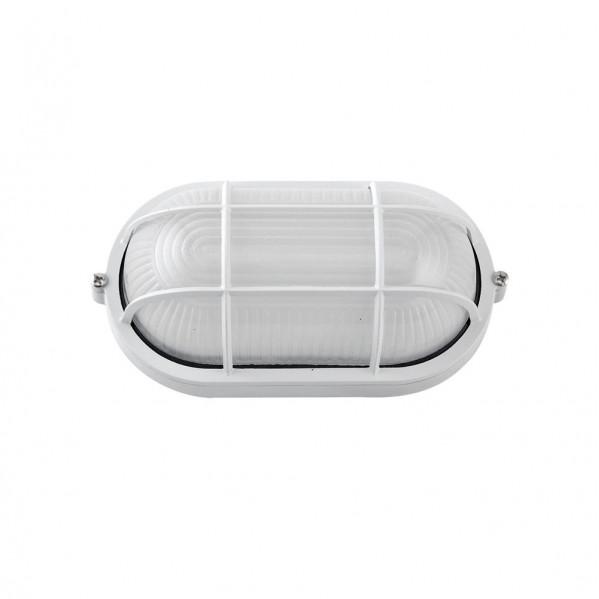 aplique ext oval aluminio apus peq 1xe27 blanco 21x10 5x9 cm ip44 - Todolampara - Aplique Ext. Oval Aluminio Apus Peq. 1xe27 Blanco 21x10,5x9 Cm Ip44