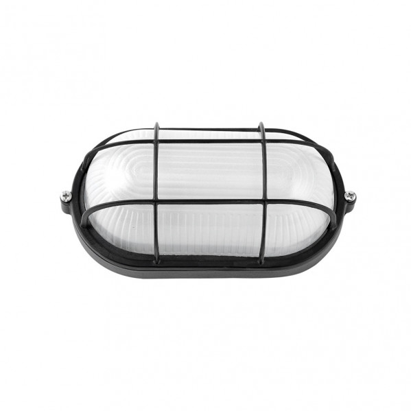 aplique ext oval aluminio apus peq 1xe27 negro 21x10 5x9 cm ip44 - Todolampara - Aplique Ext. Oval Aluminio Apus Peq. 1xe27 Negro 21x10,5x9 Cm Ip44