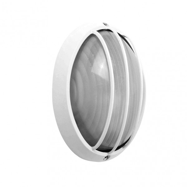 aplique ext oval aluminio aquila peq 1xe27 blanco 22x14x10 5 cm ip44 - Todolampara - Aplique Ext.oval Aluminio Aquila Peq.1xe27 Blanco 22x14x10,5 Cm Ip44