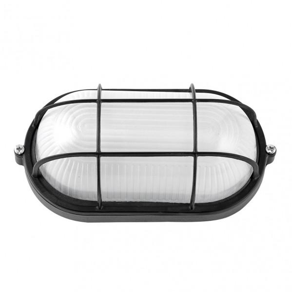 aplique ext oval aluminio apus grande 1xe27 negro 27 5x15 5x11 5 cm ip44 - Todolampara - Aplique Ext.oval Aluminio Apus Grande 1xe27 Negro 27,5x15,5x11,5 Cm Ip44
