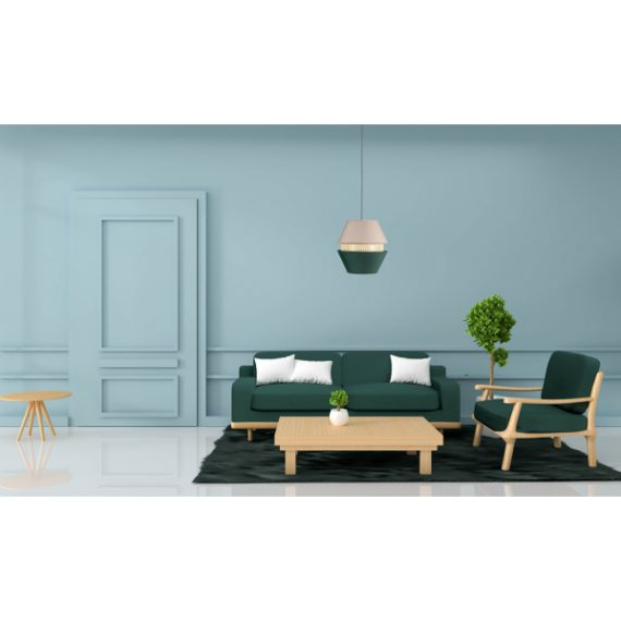 colgante 3 pantallas trajano 1xe27 verde beige regx35x35 cm 1 - Todolampara - Colgante 3 Pantallas Trajano1xe27 Verde/ Beige Regx35x35 Cm