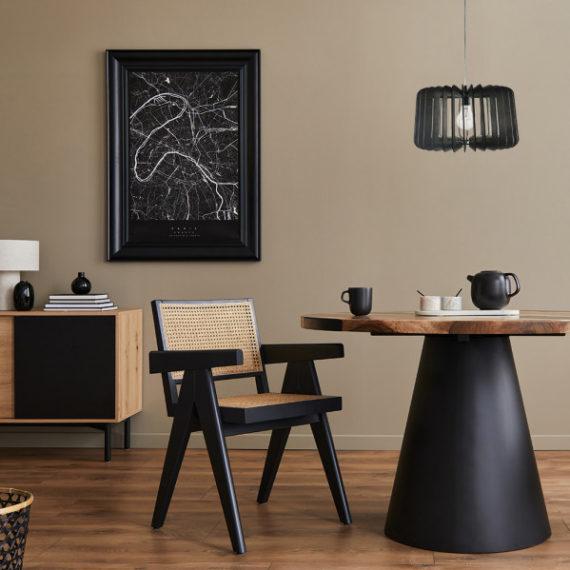 colgante ebano 1xe27 madera cafe regx40d 1 - Todolampara - Colgante Ebano 1xe27 Madera Cafe Regx40x40 Cm
