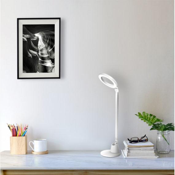 flexo calcita 8w 640lm 4000k blanco plata 55x16x16 cm tactil y regulable intensidad 1 - Todolampara - Flexo Calcita 8w 640lm 4000k Blanco/plata 55x16x16 Cm Tactil Y Regulable Intensidad